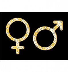 gold gender symbols vector image