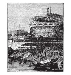 hadrians castle rome vintage engraving vector image vector image