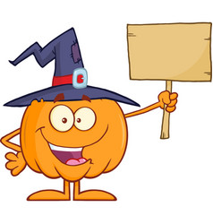 happy witch pumpkin holding a blank sign vector image vector image