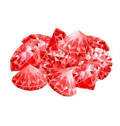 Isolated handful of red rubies Game desing vector image vector image