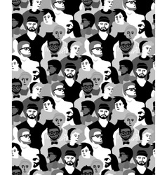 Man only crowd group gray scale seamless pattern vector image vector image