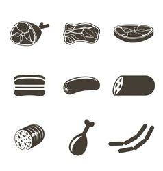 Meat icons vector image vector image