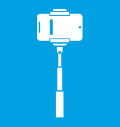 Mobile phone on a selfie stick icon white vector