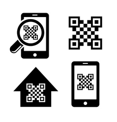 QR code icons set vector image vector image