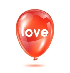 Red glossy balloon with word love happy valentine vector