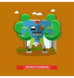Robot guards flat design vector