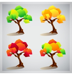 Set of four colorful geometric trees icons vector image vector image