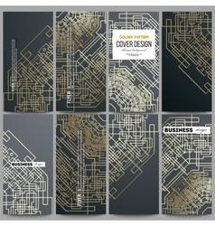 Set of modern flyers golden technology pattern on vector