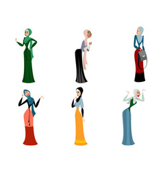 Six different arab women vector