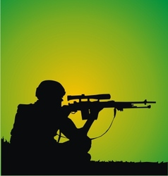 Sniper Silhouette vector image vector image