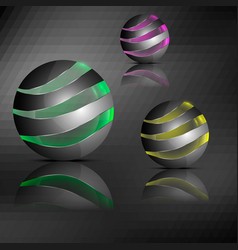 Spheres with transparent stripes vector