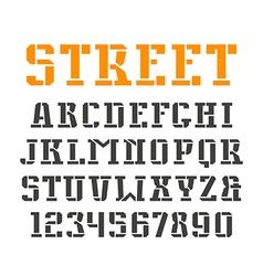 Stencil plate serif font and numerals vector