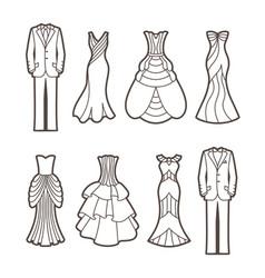 Wedding cut silhouettes vector