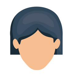 White background of faceless woman with short hair vector