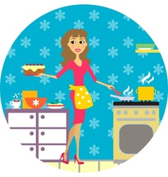Woman cooks in kitchen vector