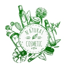 Hand drawn natural cosmetics label vector