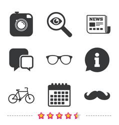 hipster photo camera icon glasses symbol vector image