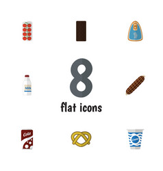 Flat icon meal set of smoked sausage confection vector