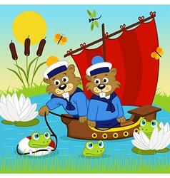 beaver on ship vector image