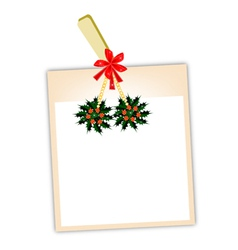 Blank photos with christmas holly vector
