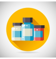 Drug cure medicine box vial bottle jar icon heal vector