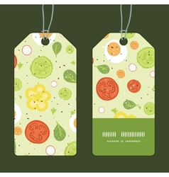 Fresh salad vertical stripe frame pattern tags set vector