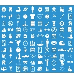 Sport icon set blue vector