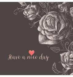 Floral background roses decorative corner vector image