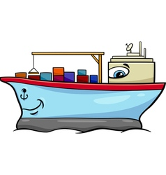 Container ship cartoon character vector