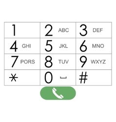 Flat keypad for phone vector