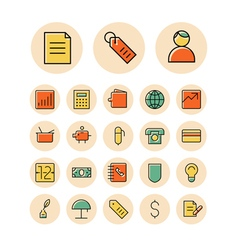 Icons thin red business finance vector