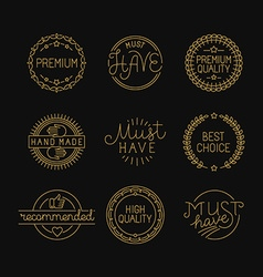 Set of linear badges and labels vector