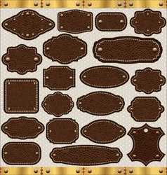 Leather vintage labels set vector