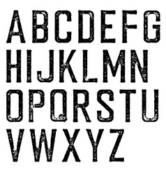 Vintage retro typeface stamped alphabet scratched vector