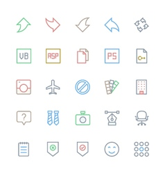 User interface colored line icons 33 vector