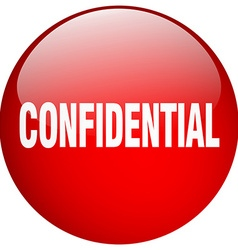 Confidential red round gel isolated push button vector