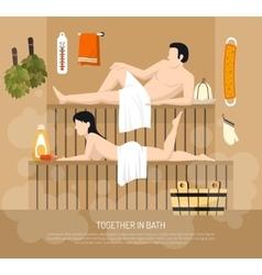 Bath sauna family visit poster vector