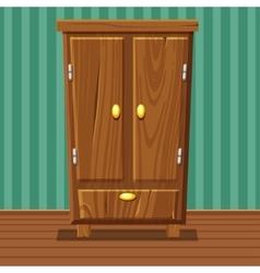 Cartoon funny closed wardrobe living room wooden vector