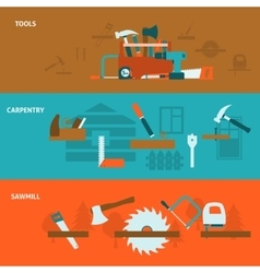 Carpentry tools flat banners set vector