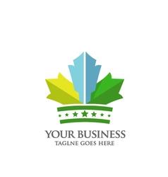 Crown of maple leaf logo vector