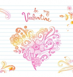 doodle ornamental heart vector image vector image
