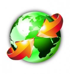 earth globe with arrows vector image vector image