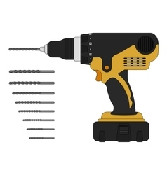 Electric drill and bits vector