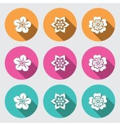 Flower icon set primula daisy petunia orchid vector