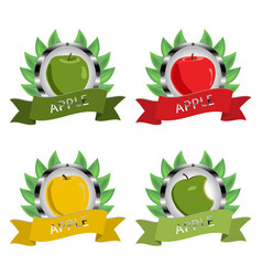 For ripe fruit colorful apples vector