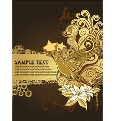 hummingbird with floral background vector image vector image