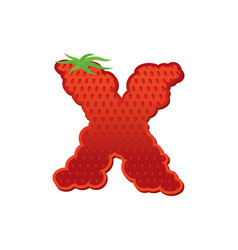 Letter x strawberry font red berry lettering vector