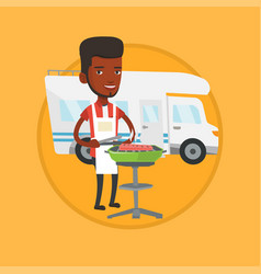 man having barbecue in front of camper van vector image vector image