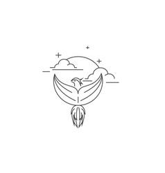 Monoline flying bird vector