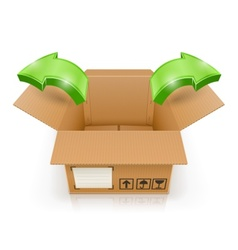 opened box with arrow outside vector image vector image